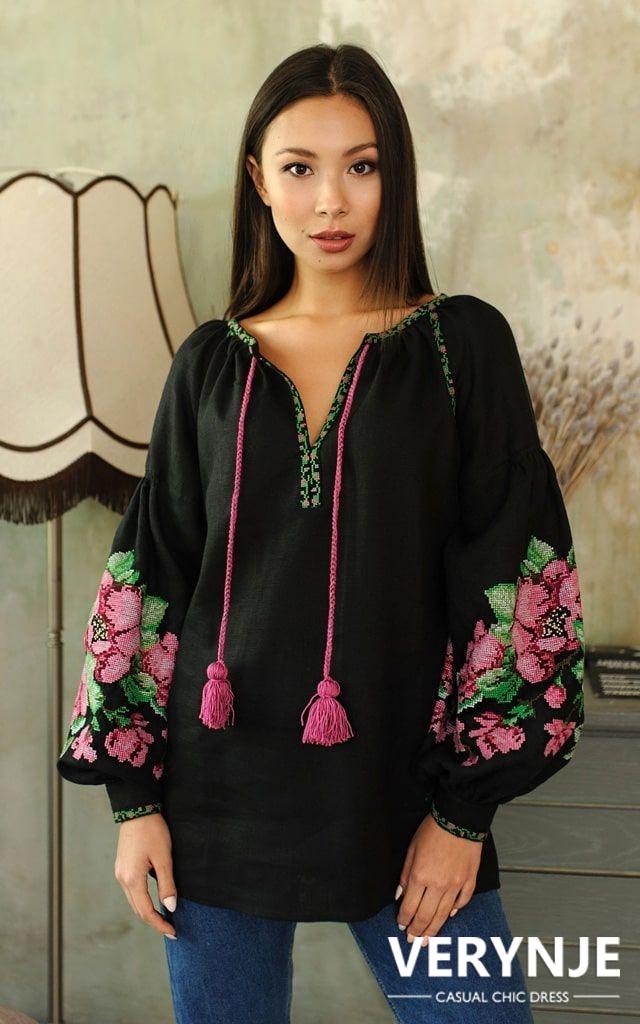 Блузка черная «Розмай»
