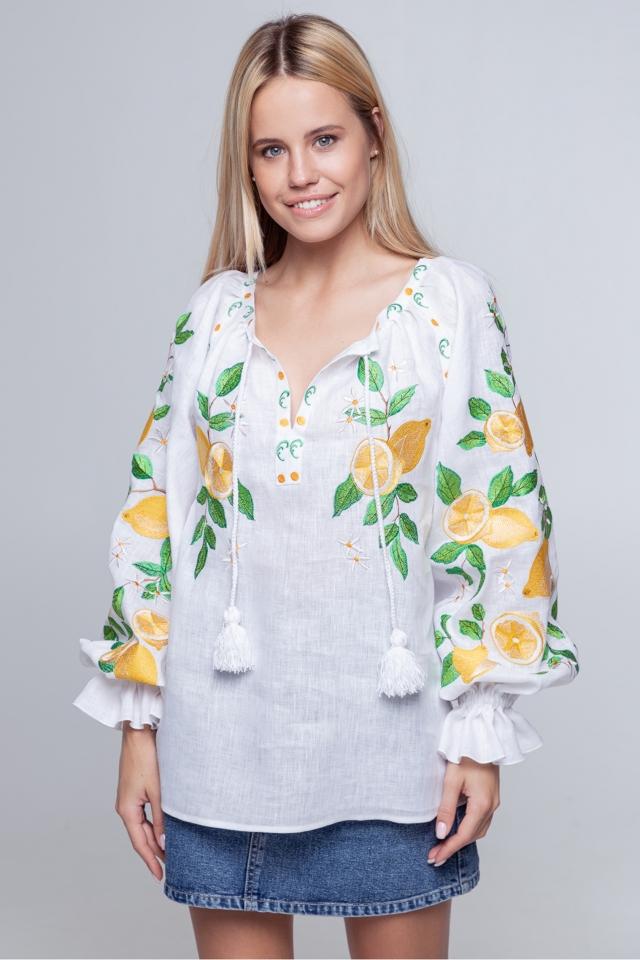 Блузка «Лимоны» белая
