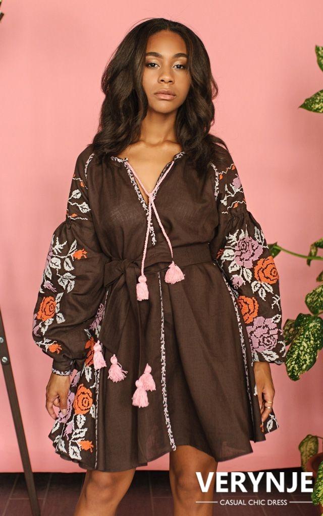 Платье «Дикая роза» горький шоколад