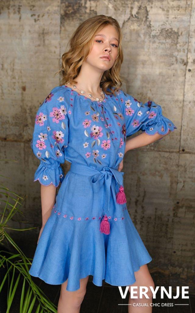 Платье «Сакура» голубое