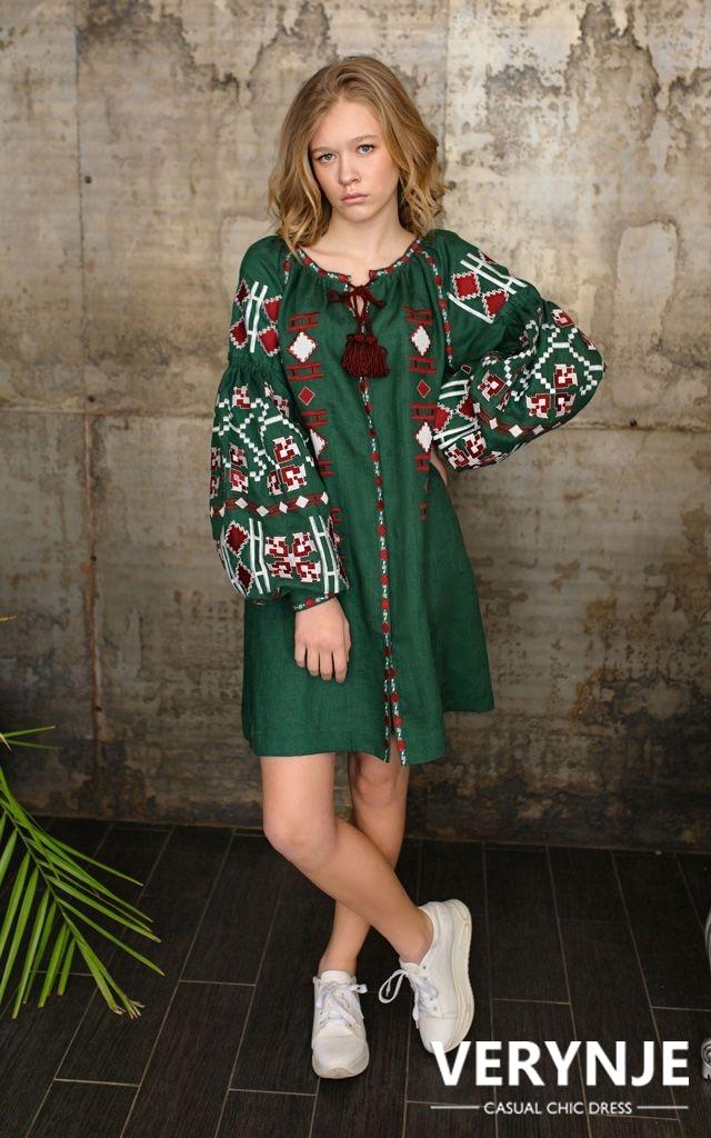 Платье «Геометрия» изумрудно-зеленое