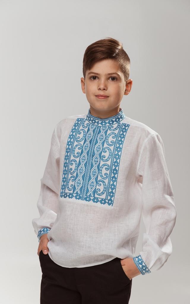 Детская вышиванка «Благо» Белая с бирюзой