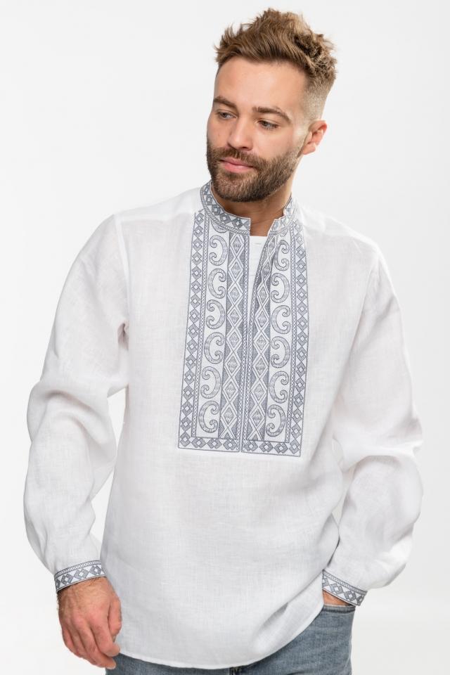 Мужская вышиванка «Благо» Белая с серым