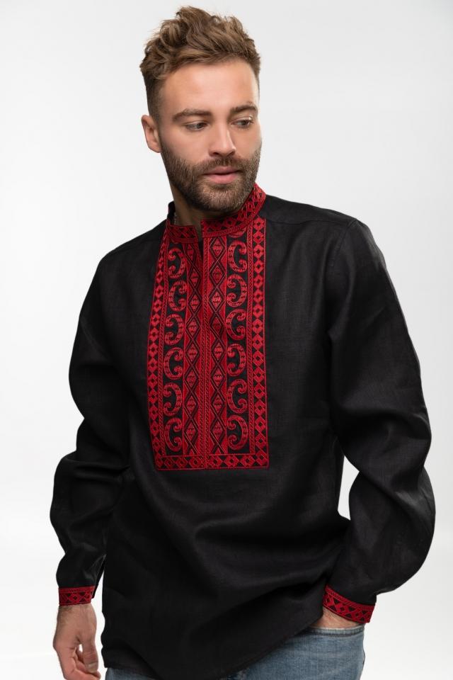Мужская вышиванка «Благо» Чёрная с красным