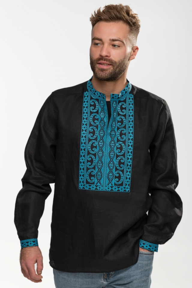 Мужская вышиванка «Благо» Чёрная с голубым