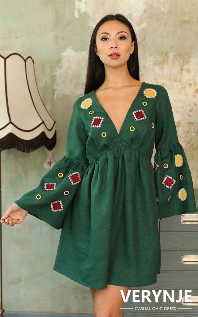 Платье «Марокко» зеленое без вышивки по юбке