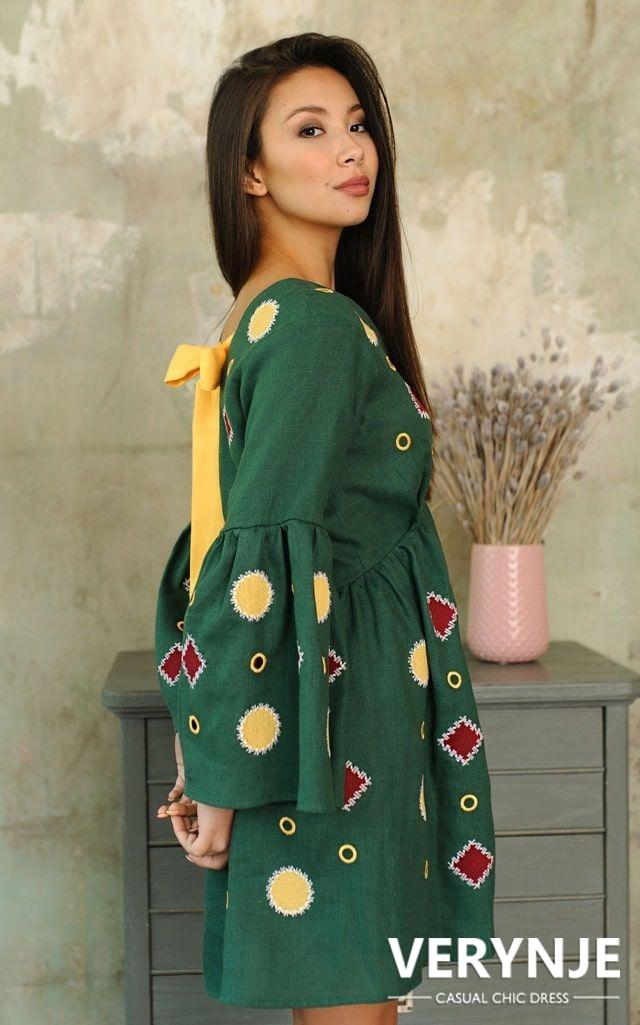 Платье «Марокко» зеленое с вышивкой по юбке