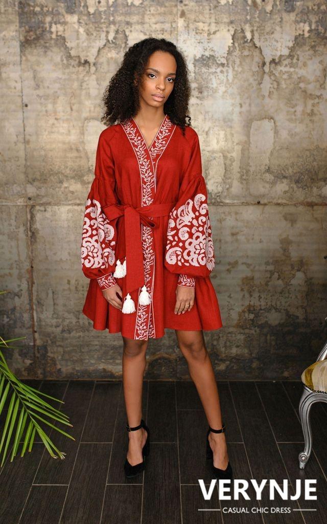 Платье «Древо жизни» бордово-винное
