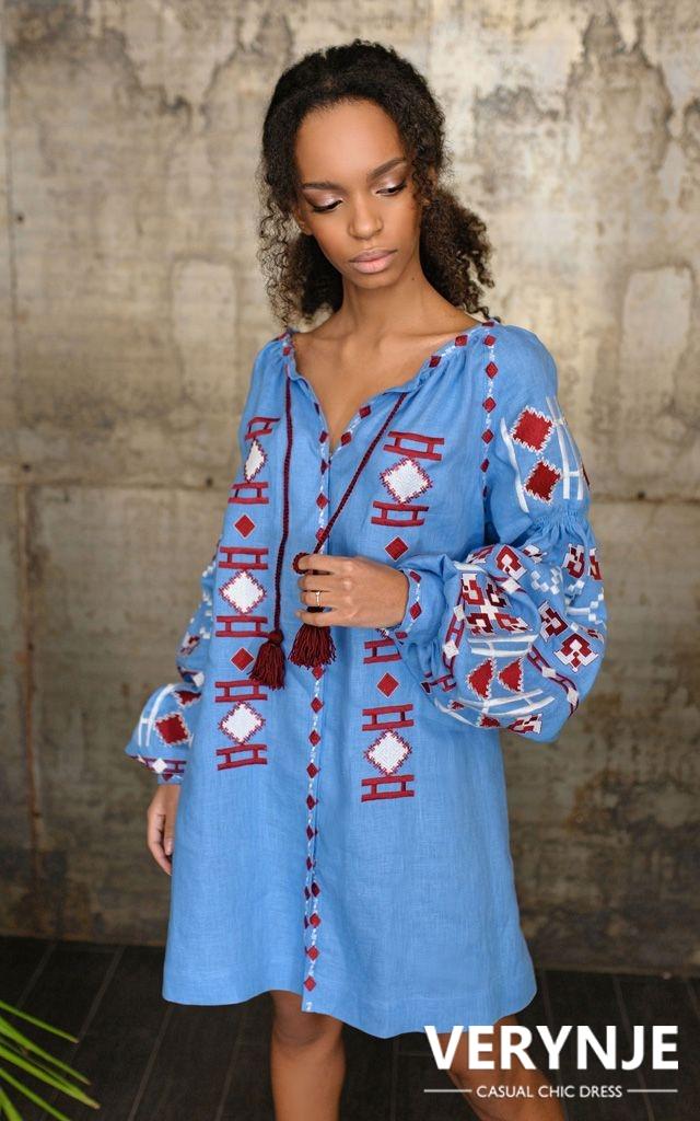 Платье «Геометрия» голубое