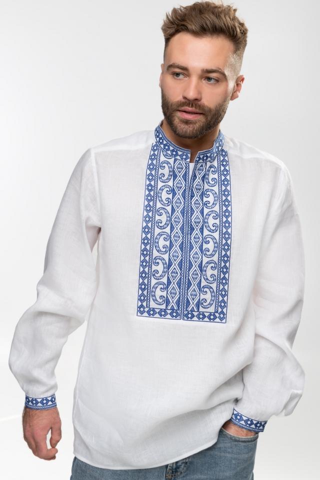 Мужская вышиванка «Благо» Белая с синим