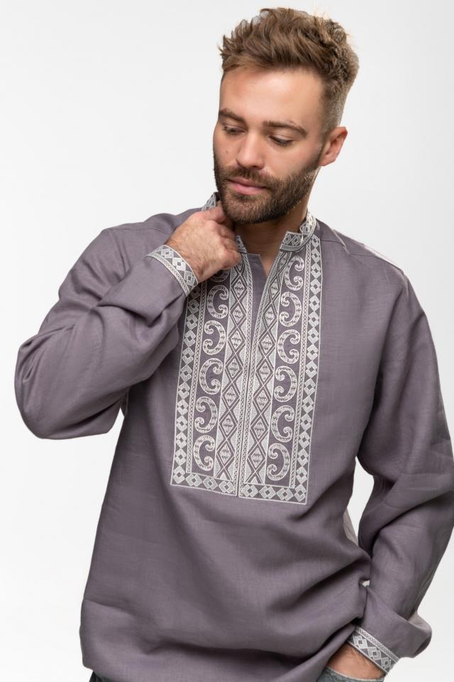 Мужская вышиванка «Благо» Серо-стальная